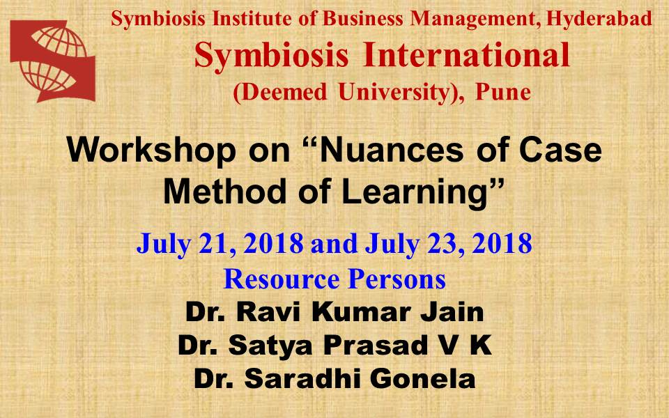 "Workshop on ""Nuances of Case Method of Learning"""